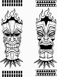 Totem Tattoo, Tiki Tattoo, Tiki Hawaii, Hawaiian Tiki, Mascara Maori, Tiki Maske, Tiki Head, Tiki Totem, Tiki Art