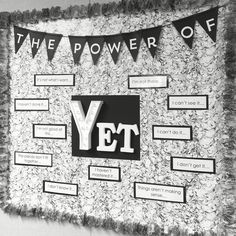 new Power of Yet bulletin board in my intervention room. Such a great reminder!My new Power of Yet bulletin board in my intervention room. Such a great reminder! Middle School Classroom, Classroom Design, Classroom Displays, Future Classroom, Classroom Organization, Classroom Decor, Library Displays, Book Displays, Bulletin Board Ideas Middle School