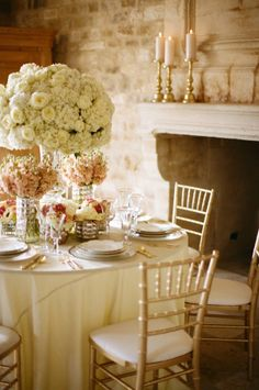 The Chapel Designer / Florabundance Inspirational Design Days Photoshoot. Nancy Liu Chin is the floral designer for this vignette. Photographed by Diana Maria Photography. Table setting with white hydrangeas, peach stock, peach orchids, roses.