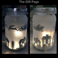 Night light, mood lighting, Santa over Houses in a jar, Fairy Jar, Glitter Jar…