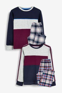 Buy 2 Pack Blush Check Pyjamas from the Next UK online shop Pajama Bottoms, Pajama Top, Pajama Shorts, Boys Pajamas, Pyjamas, Next Uk, Nightwear, Cute Boys, Boy Outfits