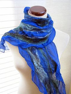 Green and Blue Scarf  Nuno Felt Scarves  Green and by fullenstar, $47.00