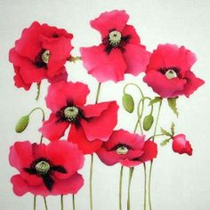 Silk Painting Poppies by Leonard Thompson