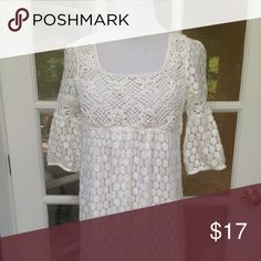 Solitaire White Lace Dress Ladies Solitaire White lace dress.  Size M. material is 35% cotton/65% polyester.  The dress is in excellent condition. Solitaire Dresses
