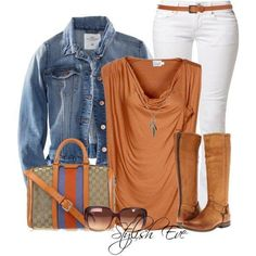 Skinny white jeans, medium wash denim jacket, orange dressy sleeveless tee shirt, light brown flat knee high boots, skinny light brown belt, classic pattern Gucci purse with orange and blue detail with dark brown oversize sunglasses and a silver charm pendant necklace.