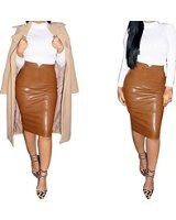 Amybria Women's Leather Slim Evening Party Bodycon Skirt