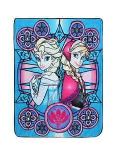 Disney Frozen Elsa & Anna Stained Glass Throw