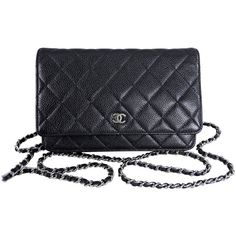 Pre-owned Chanel Black Caviar Wallet on Chain - Silver Hardware (37,060 MXN) ❤ liked on Polyvore featuring bags, wallets, handbags and purses, black leather wallet, crossbody messenger bag, genuine leather wallet, leather wallet and cross body messenger bag