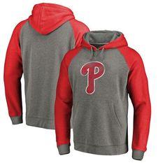 Philadelphia Phillies Fanatics Branded Distressed Team Logo Tri-Blend Big & Tall Raglan Pullover Hoodie - Gray/Red - $79.99