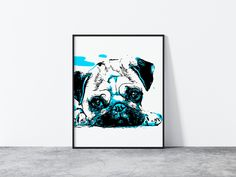 Excited to share this item from my #etsy shop: Pug Wall Art, Pug Print, Dog Poster, Pug Poster, Dog Lover Gift, Dog Art Print, Animal Wall Art, Pet Printable, Living Room Wall Art Dog Lover Gifts, Dog Lovers, Pug Breed, Pug Art, Dog Poster, Frames On Wall, Printable Wall Art, Pugs, Etsy Shop