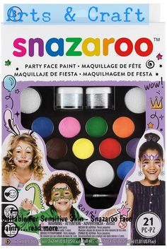 Suitable For Sensitive Skin - Snazaroo face paints are specially formulated to be friendly to the most delicate skin and are fragrance free. All Snazaroo face paints have been reviewed by an independent professor of dermatology and professional toxicologists. Washable - Snazaroo face paints are all water based! This makes them as easy to get off as they are to put on. Simply remove with soap a... #craftsupplies