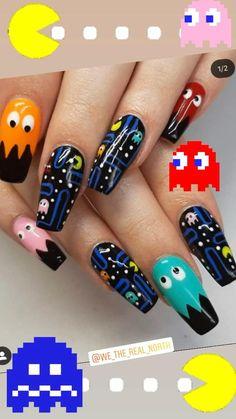 Body Inspiration, Nails Inspiration, Pac Man Nails, Superhero Nails, Coco Disney, Mens Nails, Crazy Nails, This Little Piggy, Acrylic Nails