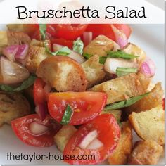 Delicious Bruschetta Salad with croutons, cheese, and more