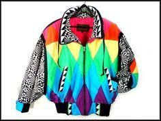 ultimate 80's NEON puffy ski jacket vintage avant garde size S. $55.00, via Etsy.