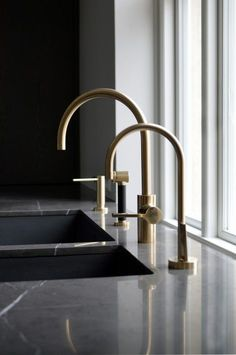 beautiful kitchen taps - Classical Apartment in Copenhagen Denmark by Space Copenhagen