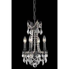 Rosalia Dark Bronze 10 Inch Four Light Chandelier With Royal Cut Crystal