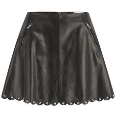 REDValentino Women's Leather Studded Skirt - Black ($495) ❤ liked on Polyvore featuring skirts, mini skirts, saia, black, flared skirt, short skirts, leather skirt, black skater skirt and mini skirt