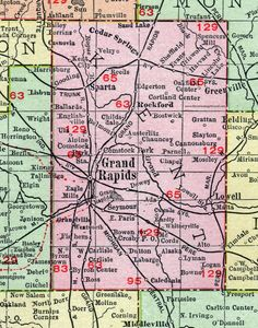 Kent County, Michigan, 1911, Map, Rand McNally, Grand Rapids, Rockford, Lowell, Sparta, Comstock Park, Belmont, Byron Center, Cascade, Caledonia, Ada, Kent City, Cedar Springs, Sand Lake, Englishville