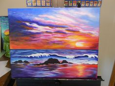 """Sunset Beach by Judy Thomson from our YouTube Tutorial. Great reflections on the sand and waves. Cute Canvas Paintings, Canvas Art, Painting Inspiration, Art Inspo, Wow Art, Sunset Beach, Acrylic Art, Scenery Photography, Night Photography"