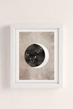 Claire Goodchild Moon & Stars Pisces Art Print