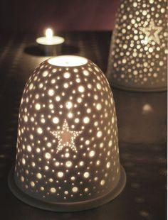 Small white Porcelain Pierced Star Tea light holder por wendyjung