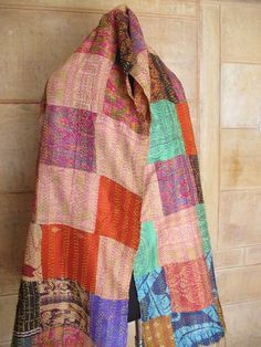 Vintage Long Reversible Handmade Neck Wrap Kantha Scarf Cotton Stole $15