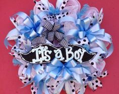 Whimsical Mustache Deco Mesh Wreath, It's A Boy Baby Shower Birth Announcement Nursery Decor