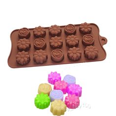 Small Mixed Flowers Soap Ice Cube Chocolate Jello Mold Silicone Mold Supplies