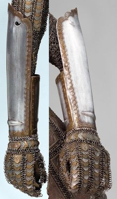 Indian (Sind/Sindh) armor, late 18th to early 19th c, detail view of the dastana (arm guard), steel, brass, Met Museum, Bequest of George C. Stone, 1935, constructed of mail and steel plates decorated with embossed brass plaques, thought to come from the northeast Indian kingdom of Sind, now a province in southern Pakistan. The region was ruled by Mirs of the Talpur family from 1783 to 1843, when it was taken over by the British, this is one of the best examples of surviving sind armors.