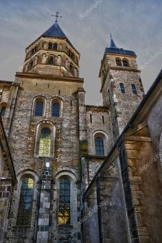 France, picturesque city of Cluny in Saone et Loire - Stock Photo , Cluny France, Tower Bridge, Birds In Flight, Wordpress Theme, Mexico, Burgundy, Stock Photos, Mansions, House Styles
