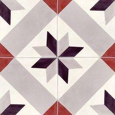 Carreau de ciment Intérieur Etoile PREMIUM, gris noir rouge, 20 x 20 cm