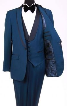 Bryan Michaels Tuxedo Shawl collar flat front trousers Lapeled Vest Royal Blue #OneButton
