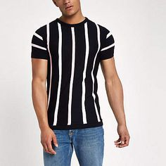 Mens River Island Navy knit stripe slim fit T-shirt Vertical Striped Shirt, Shirt Outfit, T Shirt, Collar Shirts, Stripe Print, Casual Outfits, Menswear, Slim, Mens Fashion