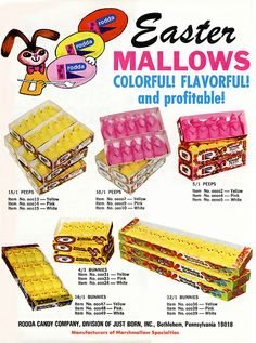 Just Born - Rodda - Easter Mallows - Marshmallow Peeps - candy trade ad - 1978
