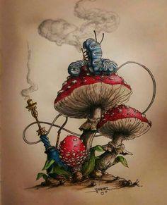 Alice Tattoo, Alice In Wonderland Mushroom, Wonderland Alice, Caterpillar Alice In Wonderland, Wonderland Party, Art Sketches, Art Drawings, Tattoo Sketches, Alice In Wonderland Drawings