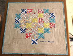 Punto de cruz y patchwork, corazón.