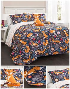 A friendly fox frolicks with frivolity over fields of flowers in this fantastically fun quilt set. Complete with a cute foxy companion that smiles cheerfully at you, this set is one that even adults will covet. Make sure you name your fox as soon as you get him or her!