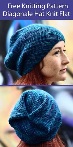 Free Knitting Pattern for easy Diagonale hat knit flat with unique construction. Ideal for beginner knitters. 4 Sizes. Great with handdyed, variegated or solid color yarn. Rated very easy by Ravelrers.Designed by Woolly Wormhead. Fingering weight yarn. Beanie Knitting Patterns Free, Beginner Knitting Patterns, Crochet Beanie Pattern, Crochet Yarn, Knitting Yarn, Free Knitting, Hat Patterns, Knitting Ideas, Fingering Yarn