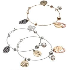 Antiqued Emoji Charm Bangle Bracelet Set ($16) ❤ liked on Polyvore featuring jewelry, bracelets, multicolor, metal bangles, tri color bangles, nickel free jewelry, vintage style jewelry and adjustable bangle