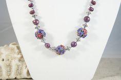 Lampwork Bead Necklace Wine pearl necklace by ShadesofyouJewelry