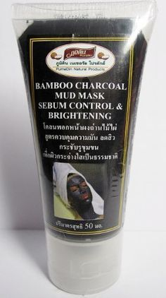Bamboo Charcoal Mud Mask Facial Mask Charcoal Powder Aloe Vera Extract Pure Gold Sebum Control and Brightening Natural Product Made in Thailand 50 ml * For more information, visit image link.-It is an affiliate link to Amazon.