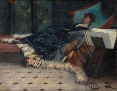 Sleeping woman with a book, c 1921, Ferdinand Max Bredt (1868-1921) German Painter ~ Blog of an Art Admirer