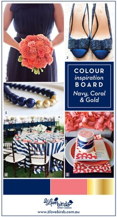 Navy Blue, Coral and Gold | 2 Love Birds