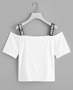 SHEIN offers Letter Strap Open Shoulder Tee & more to fit your fashionable needs. Girls Fashion Clothes, Tween Fashion, Teen Fashion Outfits, Outfits For Teens, Cute Girl Outfits, Cute Casual Outfits, Mode Turban, Stylish Dresses, Grey Dresses
