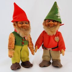 Vintage Steiff Original Gnomes Pucki and Lucki c. 1950s from Antik Avenue on Ruby Lane #HOFluckycharms