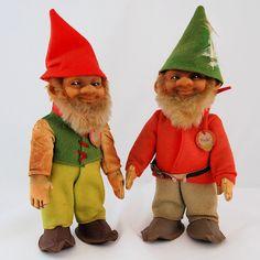 Vintage Steiff Original Gnomes Pucki and Lucki c. 1950s from Antik Avenue on Ruby Lane #HOFluckycharms