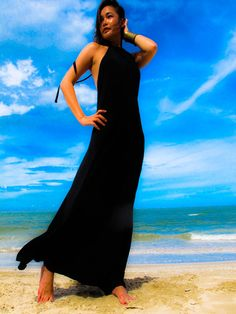 Black Halter open backless long maxi dress sun by Onumadress