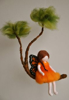 Felt fairy - Girls Mobile Waldorf inspired needle felted Monarch Butterfly fairy in a branch – Felt fairy Butterfly Fairy, Monarch Butterfly, Needle Felted, Wet Felting, Felt Angel, Spring Fairy, Waldorf Crafts, Felt Mobile, Felt Fairy