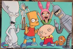 Bart Simpson Roger Stewie Claus Bender Bob's Burgers Futurama Simpsons American Dad Rick & Morty Gang Painting by PAPA Provocative Adult Pop Art Pop Culture Icons Cartoon Characters