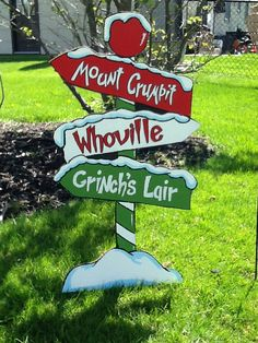 The Grinch Sign Yard Art -measures 40 inches tall. The Grinch Sign Grinch Party, Le Grinch, Grinch Christmas Party, Peanuts Christmas, Office Christmas, Christmas Wood, Christmas Signs, Christmas Projects, Christmas Time